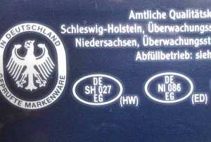 Lebensmittelkennzeichnung zur Bestimmung der Herstellers