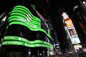Billboards light up for the launch of Xbox One outside of the Best Buy Theater in Times Square on Thursday, November 21, 2013. (Photo by Charles Sykes/Invision for Microsoft/AP Images)