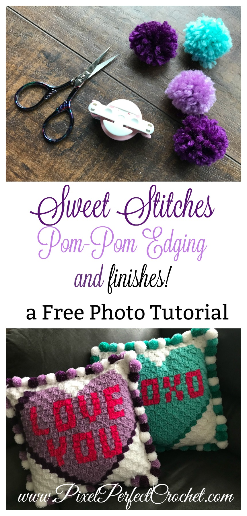 Sweet Stitches Pom Pom Edging And Finishes Pixel Perfect Crochet