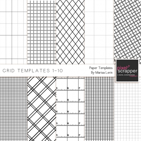 Grid Paper Templates 1-10 Kit by Marisa Lerin graphics kit