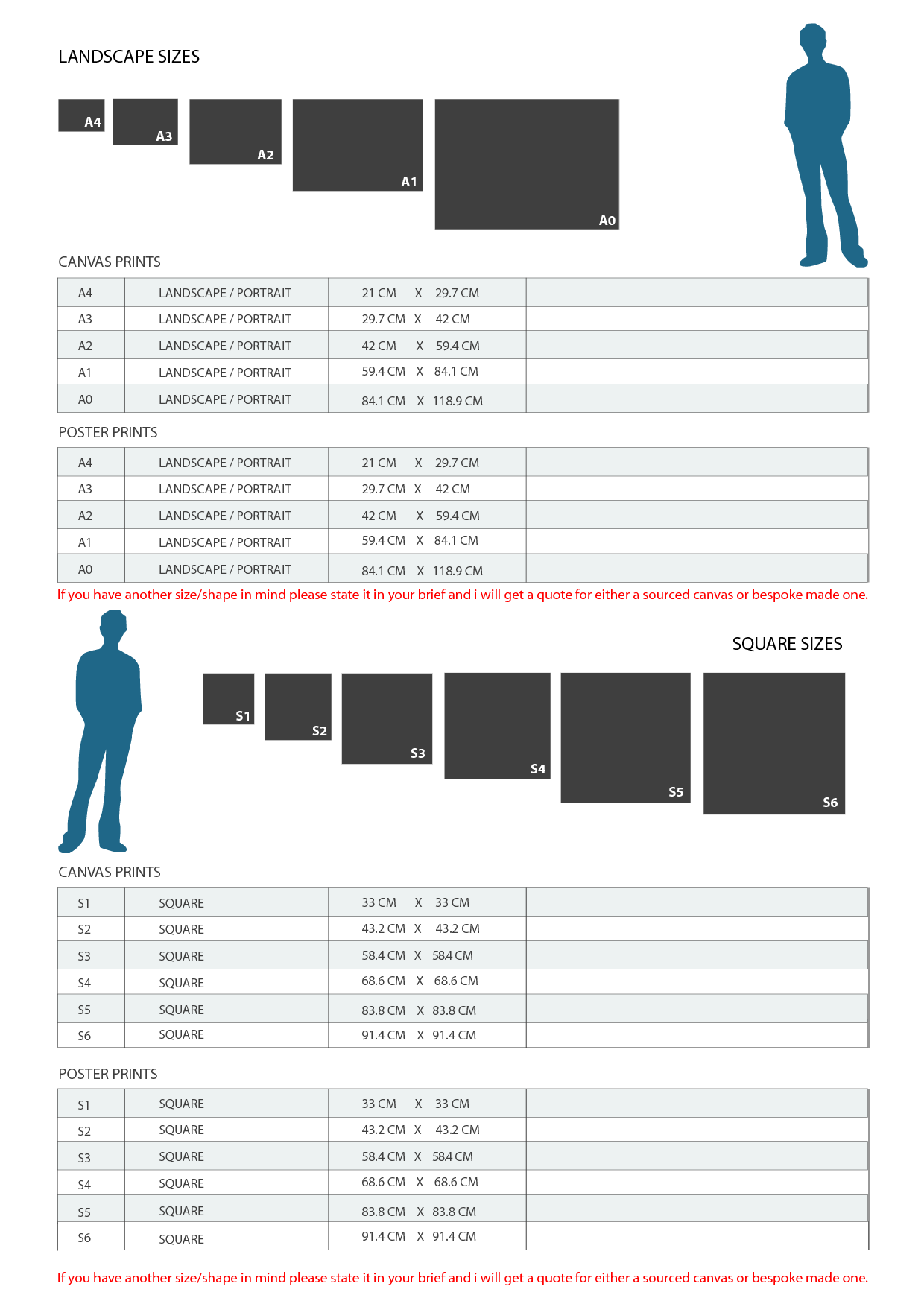 paper canvas poster sizes