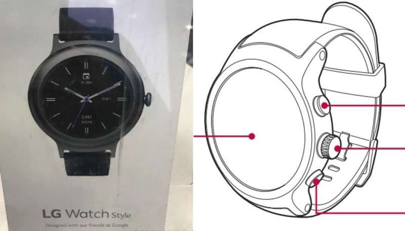 Photos of LG Watch Style retail box leak, LG Watch Sport and Watch Style user guides published