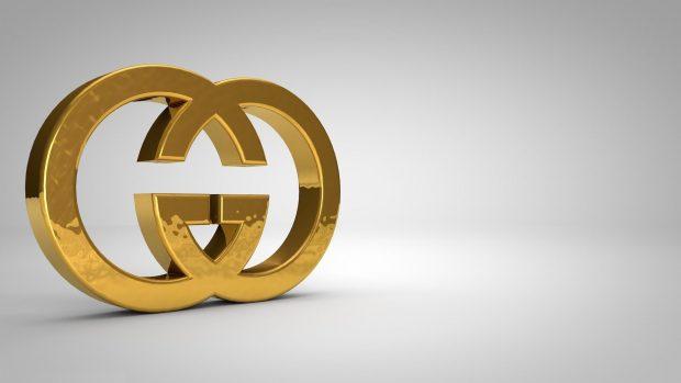 Gucci logo studio gold abstract 3d wallpaper HD.
