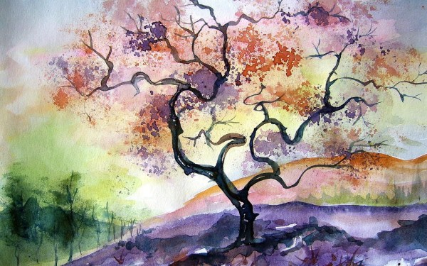 Abstract Watercolor Tree Painting
