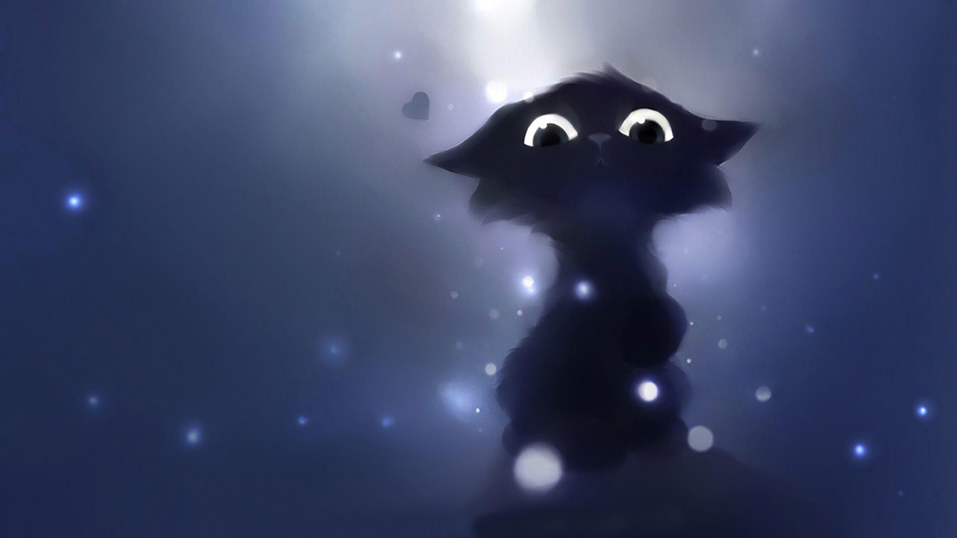 1920x1200 black cat halloween wallpaper pc. Hd Anime Cat Background Pixelstalk Net