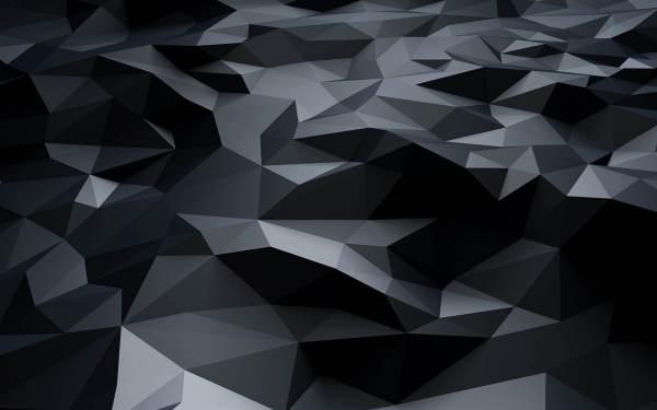 Polygons 3D Ultra Dark Black Wallpaper Pattern