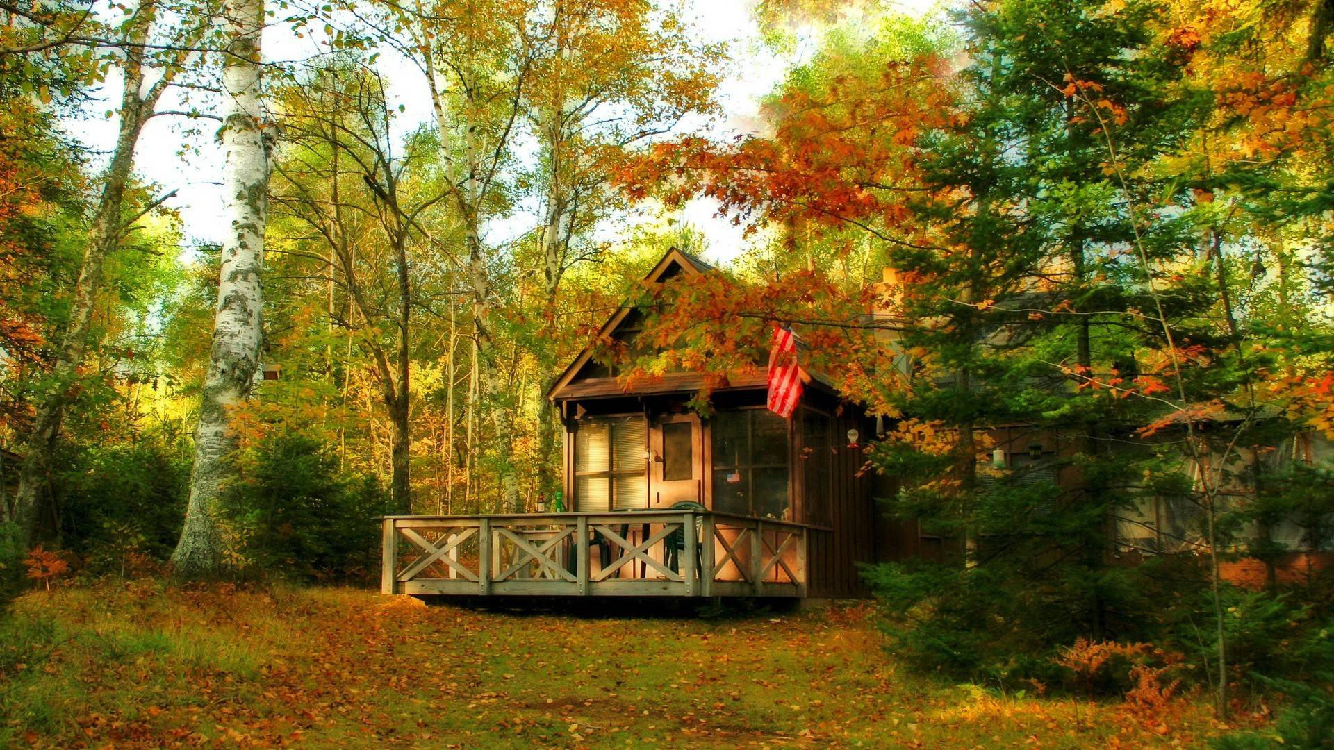 Fall Cabin The Woods Wallpaper Free Download Cottage Wallpaper Pixelstalk Net