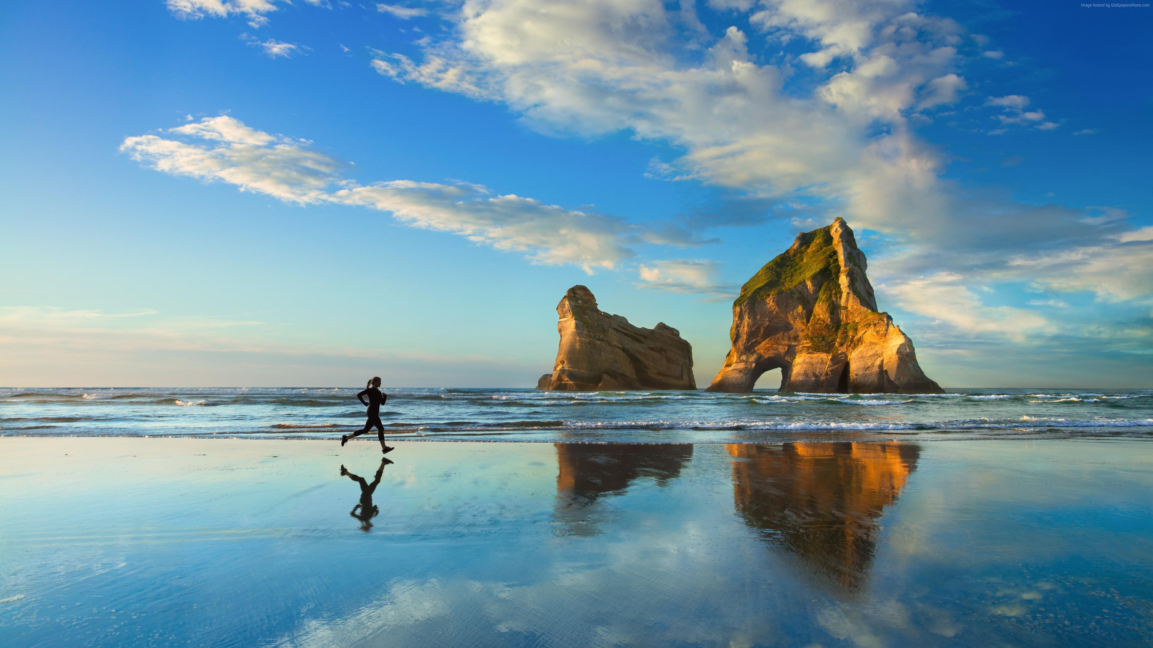 Windows 10 4k Wallpaper Microsoft Blue Sea Woman Running