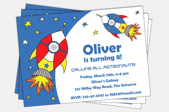 Pixiebear Party Printables – Space Party Invitation