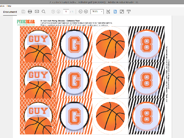 How to add your own text to birthday printable files