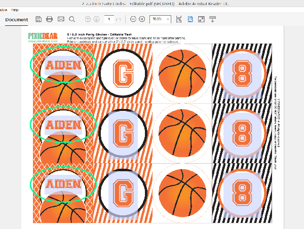 How to add your own text to party printable files