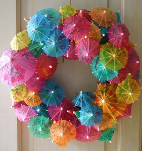 Christmas in July Party Ideas - Paper Umbrella Wreath