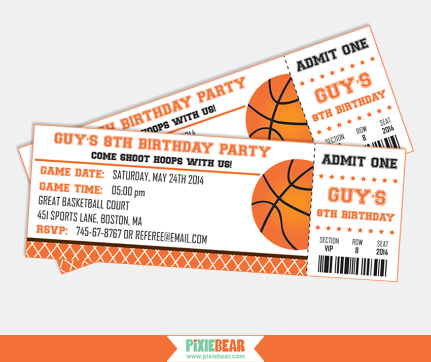 basketball party  pixiebear party printables, party invitations
