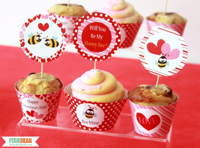 Valentine's Day Party Toppers by Pixiebear Party Printables
