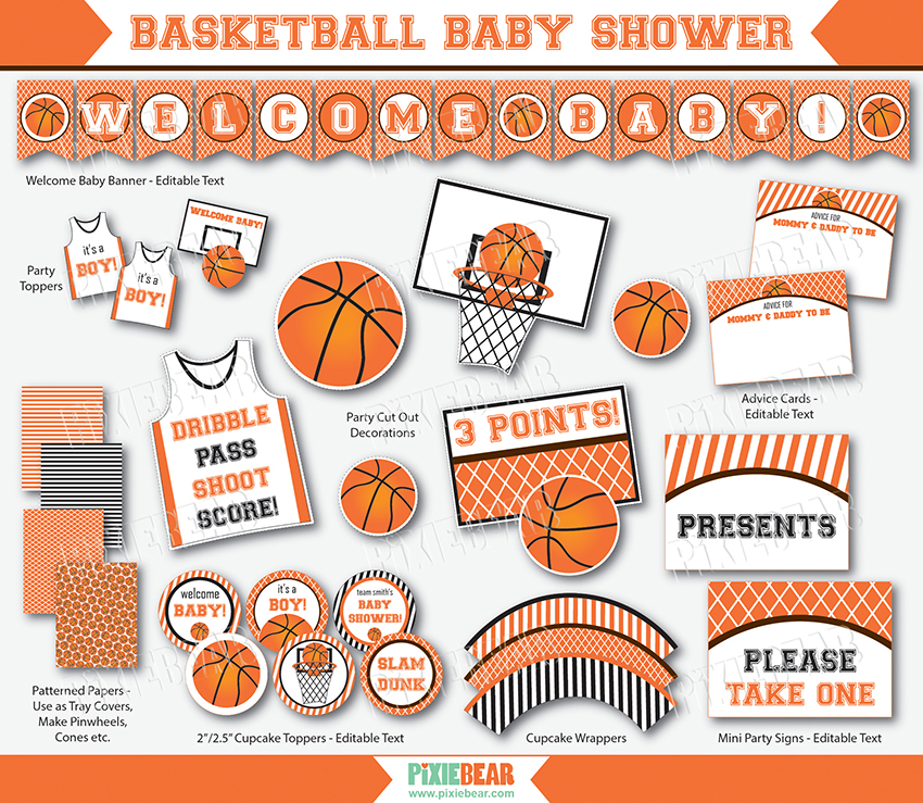 Wonderful Basketball Baby Shower Printables · Basketball Party Ideas