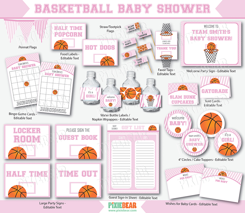 basketball baby shower printables in pink by