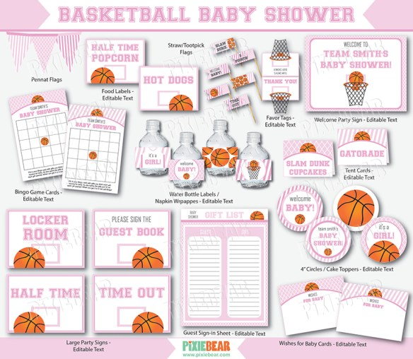 Basketball Baby Shower printables in pink by Pixiebear.com