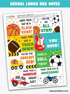 Lunch Box Notes Free Printable by Pixiebear_Freebies Page