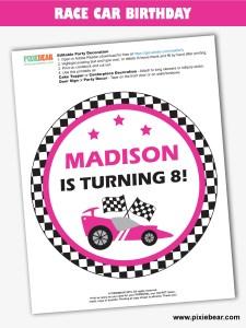 Race Car Birthday Free Printable by Pixiebear