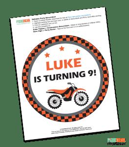 Dirt Bike Birthday Party Free Printable by Pixiebear