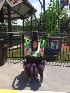 Alexis Caitano testing the seat