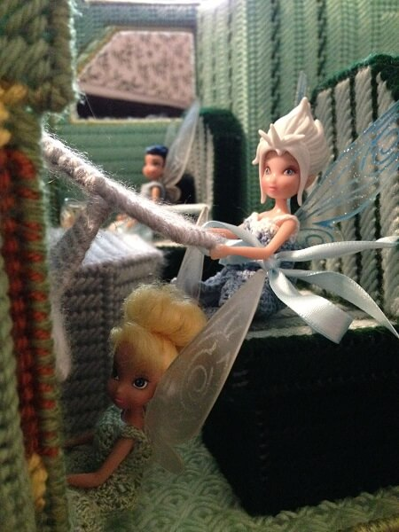 Tinkerbell and Periwinkle dolls in camper.