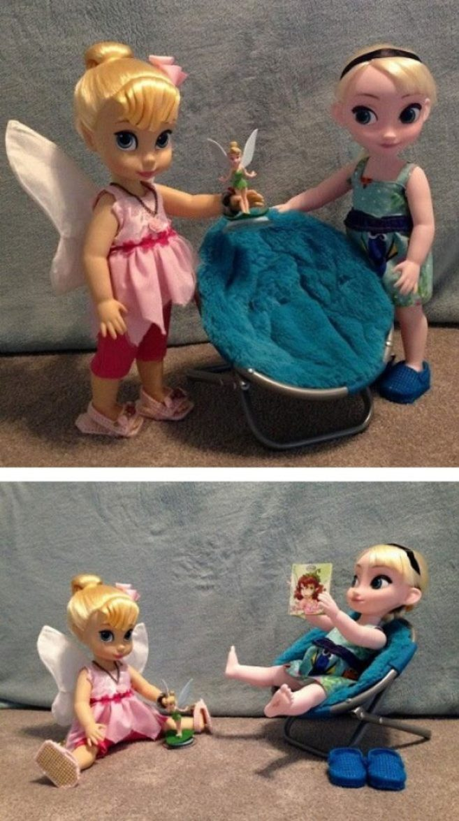 Tinkerbell and Elsa with fun finds.