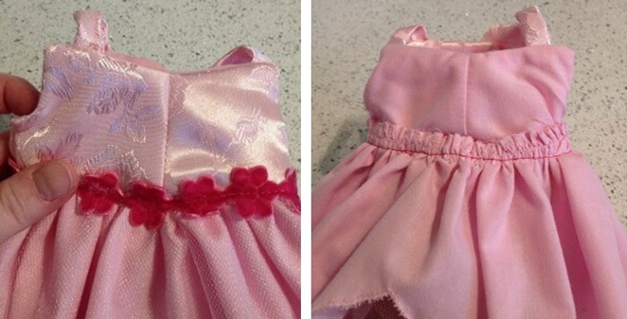 Doll dress bodice (inside and outside view).