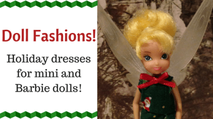 Doll Fashions: Christmas Dresses For Mini And Barbie Dolls