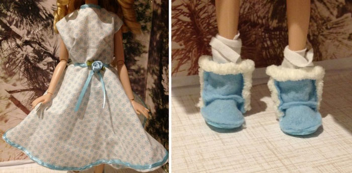 Snowflake Printed Doll Dress And Blue Doll Boots