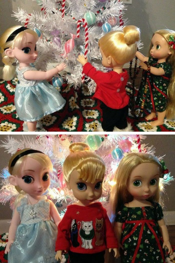Image Of Dolls Around The Christmas Tree
