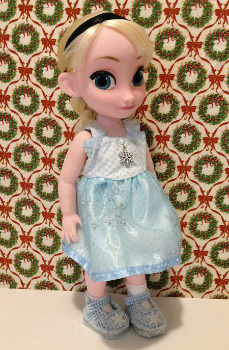 Disney Animator Elsa Doll Wearing Blue Snowflake Dress
