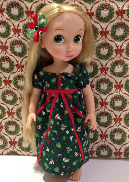 Rapunzel Doll Wearing Green Gingerbread Dress