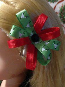 Christmas Hair Bow For Rapunzel Doll