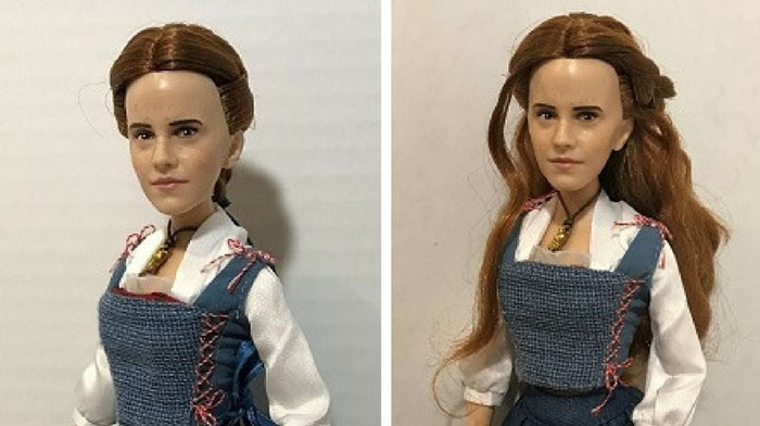 Image Of Belle Doll Before And After Her Mini Makeover