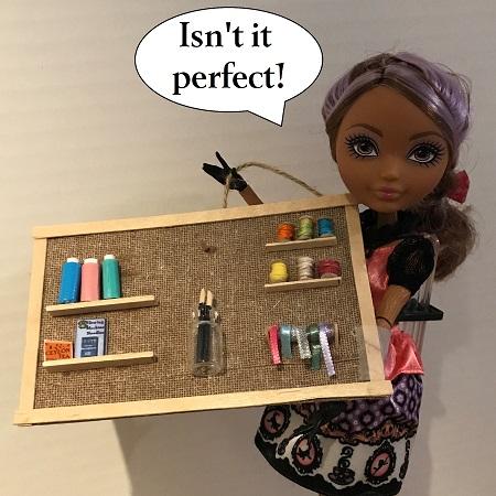 Doll Corkboard With Craft Supplies
