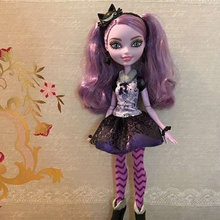 Ever After High Kitty Cheshire Doll With Grey Background