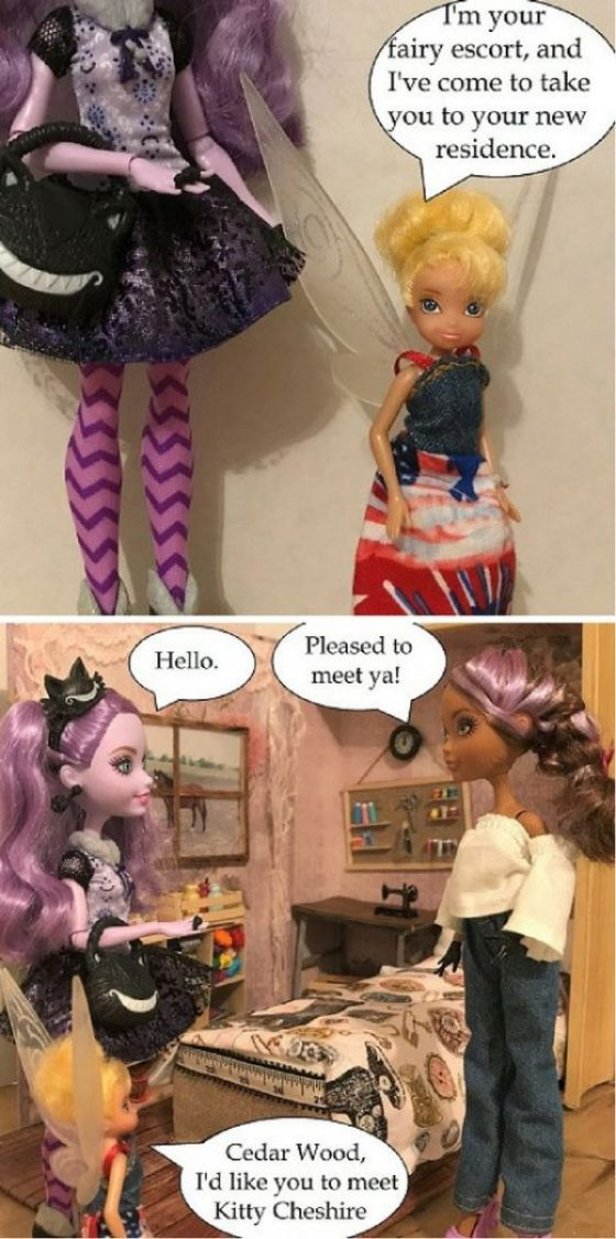 Doll Photo Story: Tinkerebell Takes Kitty To Meet Cedar Wood.