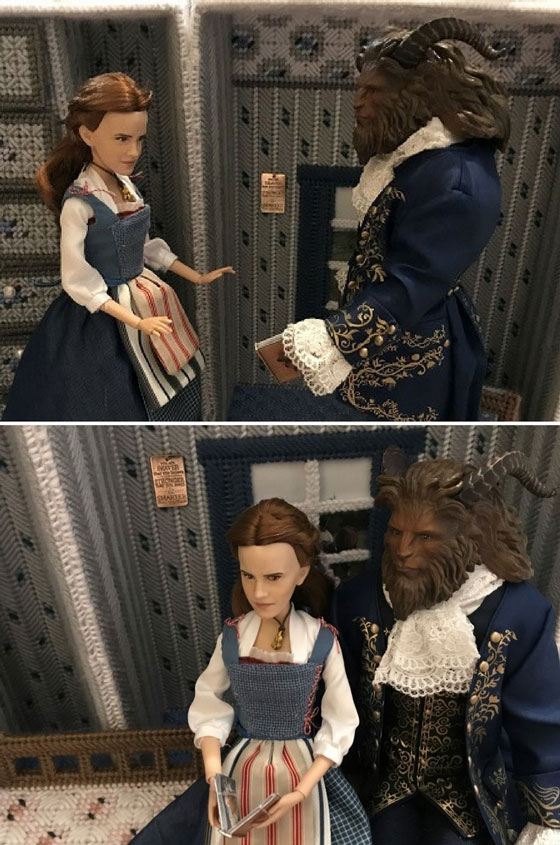 Belle and Beast dolls looking at DIY doll books