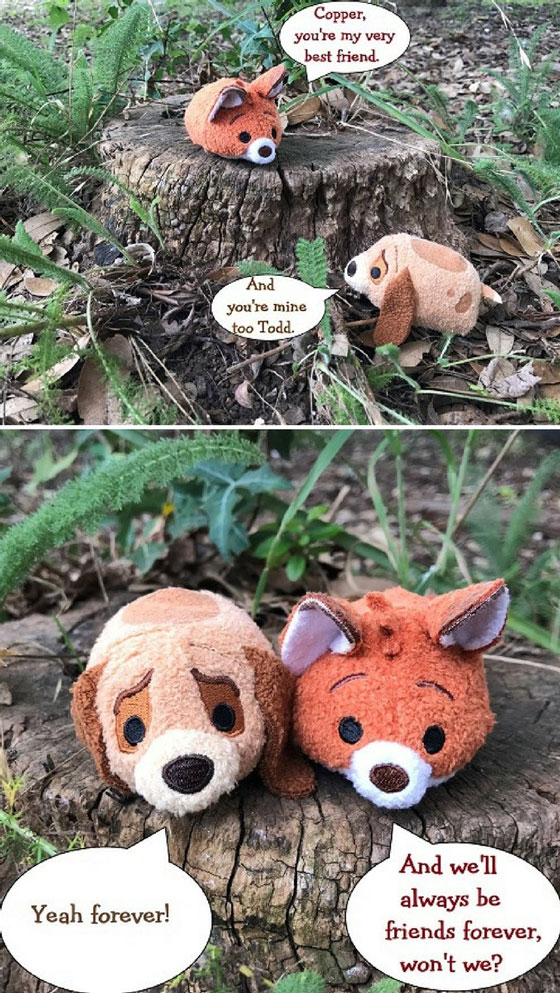 Todd and Copper tsum tsums with quote from The Fox And Hound