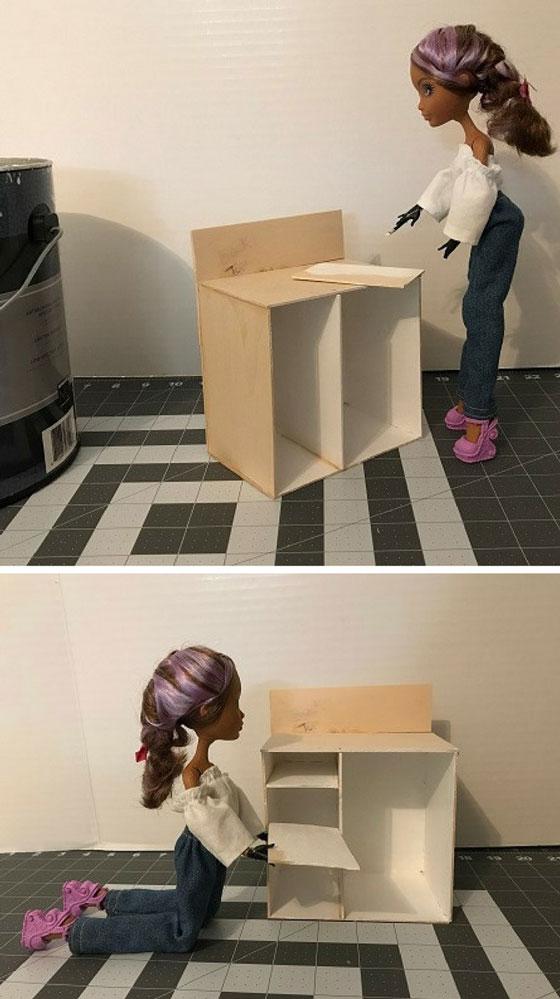 Image of Cedar Wood painting shelves for desk.