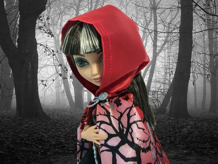 Cerise Hood With Dark Forest Background
