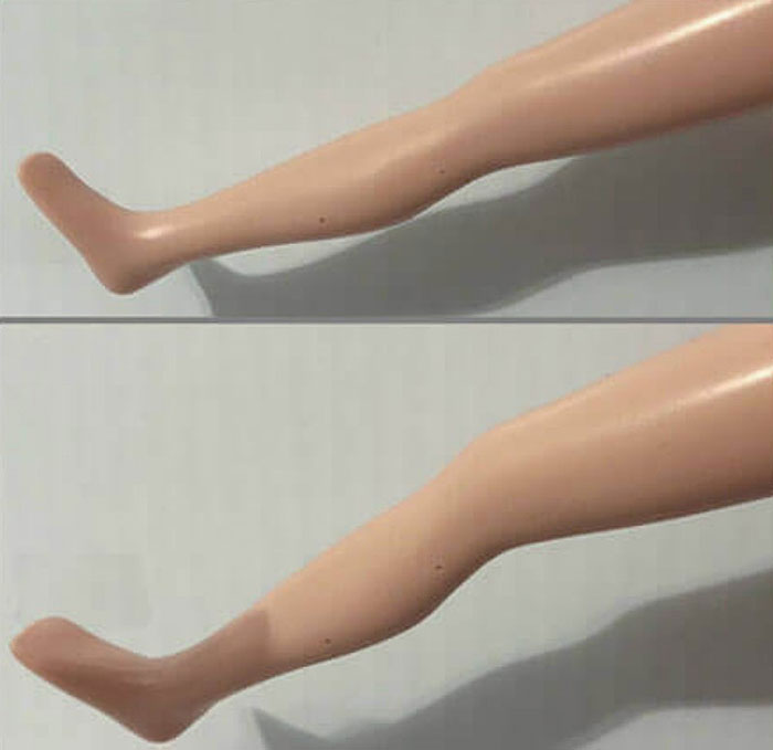 Click-knees on doll.