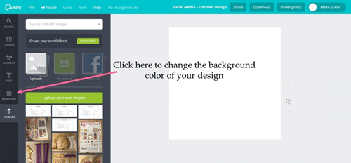 Click BACKGROUNDS to give your design a colorful background.