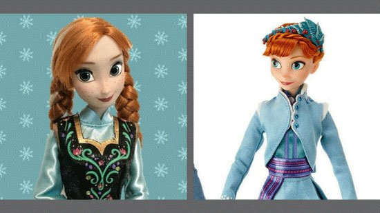 Original Anna verses Anna from Olaf's Frozen Adventure.