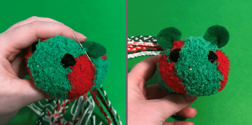 Making a simple cat toy using a sock.