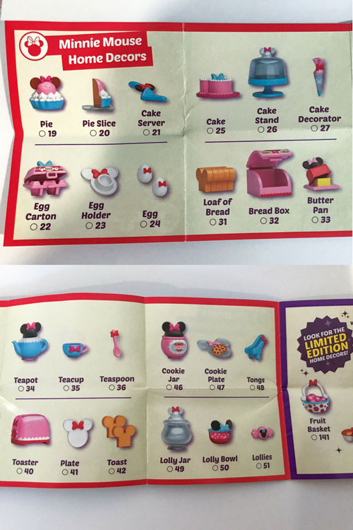 Image Of Blind Box Cataloge Showing Minnie Mouse Items