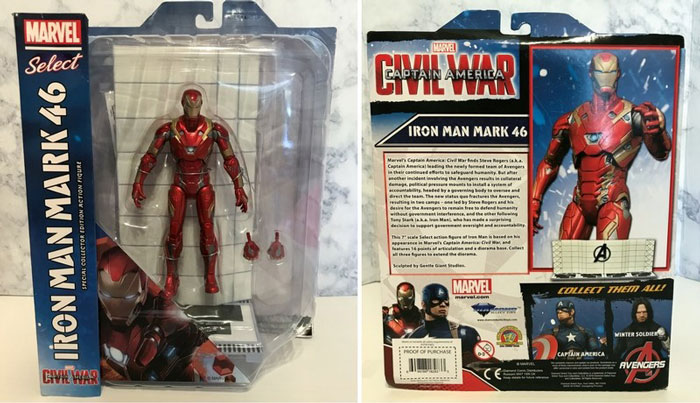 Iron Man action figure box front and back.