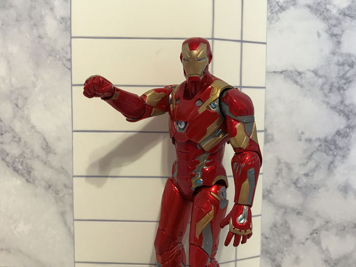 Iron Man action figure with fisted hands.
