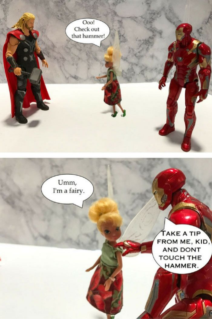 Tinkerbell doll with Thor and Iron Man action figures